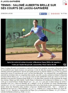 ER 23.08.2016 - Salomé Aubertin brille sur ses courts de Laxou Sapiniere