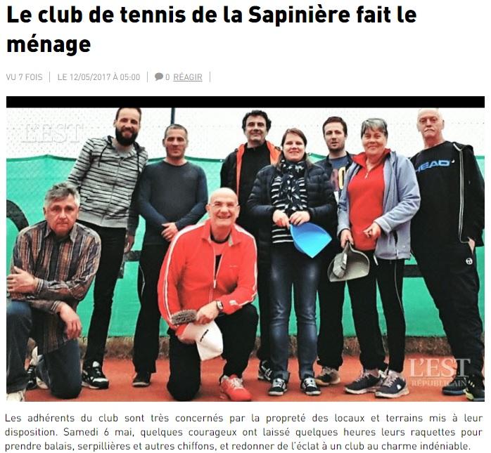 ER 20170512 - Le club de tennis de la sapiniere fait le menage